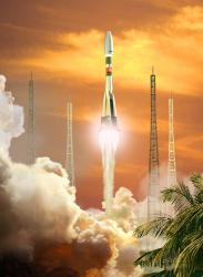 Artist impression of a Soyuz launch. Image credit: ESA.