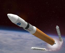 Artist impression of the Ares V launcher. Image credit: NASA.