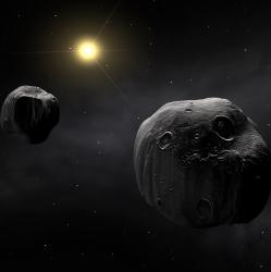Artist illustration of binary asteroid 90 Antiope. Image credit: ESO.