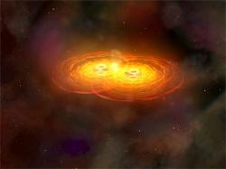 Artist impression of merging black holes. Image credit: NASA/CXC/A. Hobart.