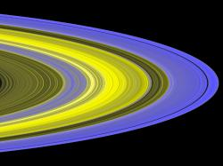 False-colour image of Saturn's rings. Image credit: NASA/JPL/SSI.