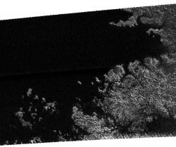 Coastline on Titan. Image credit: NASA/JPL/SSI.