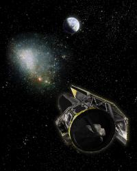 Artist impression of the Spitzer Space Telescope. Image credit: NASA/JPL/R. Hurt.