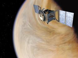 Artist impression of Venus Express. Image credit: ESA.
