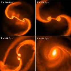 Simulation of merging black holes. Image credit: Stanford.