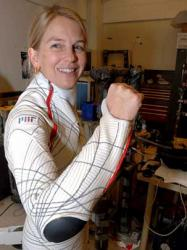 Dava Newmon wearing the biosuit. Image credit: Donna Coveney.