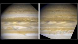 Massive Jupiter is undergoing dramatic atmospheric changes. Source: Hubble Site.