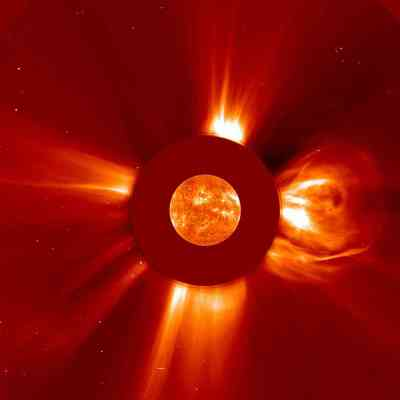 Biggest solar flare recorded by SOHO.