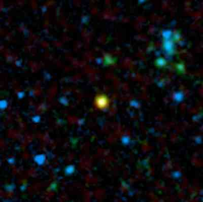 A distant Galaxy (yellow) that houses a quasar.