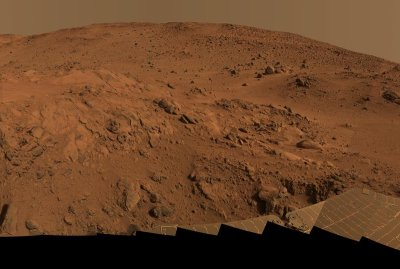 Panoramic view of Mars taken by NASA's Spirit rover.