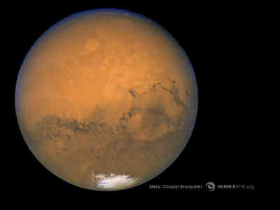 Hubble Space telescope view of Mars.