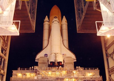 Space shuttle Discovery moving from the Vehicle Assembly building.