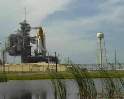 Space Shuttle Discovery on the launch pad.